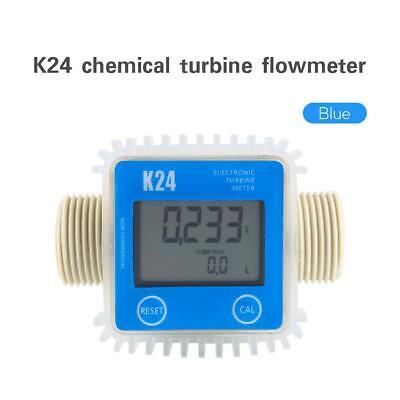 New Pro K24 Turbine Digital Diesel Fuel Flow Meter For Chemicals Water Blue Usa