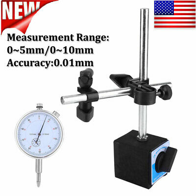 0.01mm Dial Test Indicator Gauge Scale With Magnetic Base Holder Stand New