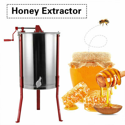 Stainless Steel Large 4 Frame Honey Extractor Manual Beekeeping Equipment Us