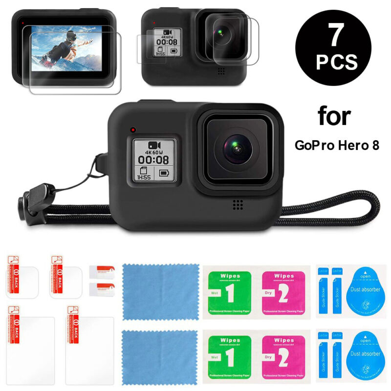 For GoPro Hero 8 Black Accessories Kit Silicone Case Protective Case+Screen Lens