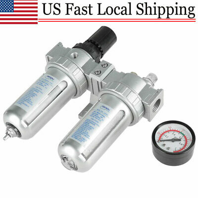 New 12 Air Compressor Filter Oil Water Separator Trap Tool W Regulator Gauge