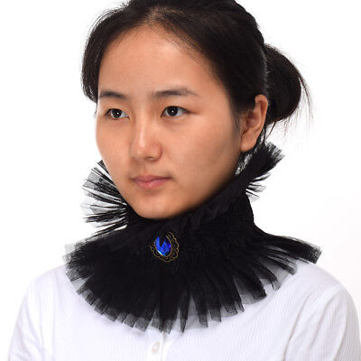 Lady Jabot Ruffled Witch Collar Black Choker Renaissance Enlightenment, used for sale  Shipping to Ireland