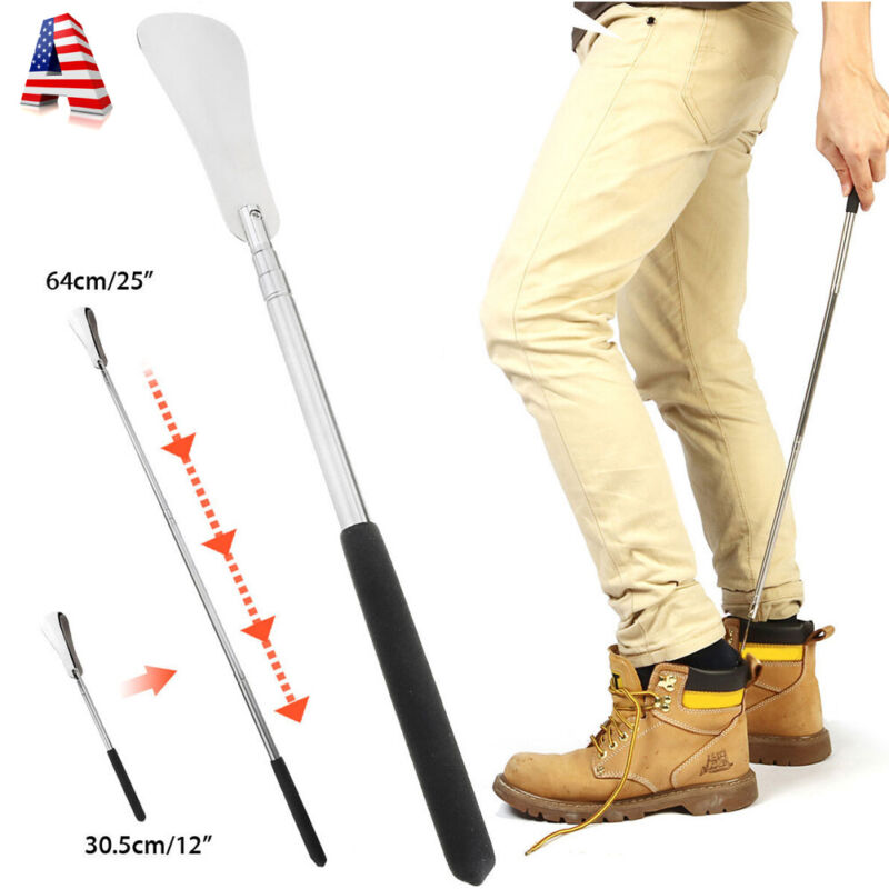 """Extra Long Handle Shoe Horn Stainless Steel 25"""" Handled Metal Shoehorn Horns USA"""