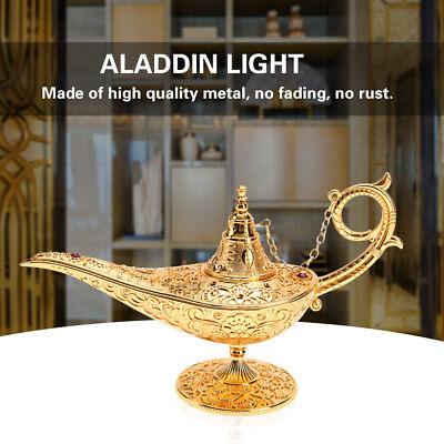 Unique Gold Metal Carved Legend Aladdin Lamp Magic Genie Light Wishing Pot Decor](Magic Genie Lamp)