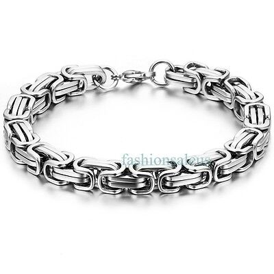 Silver 8mm Stainless Steel Square Mechanic Style Tone Link Chain Men's Bracelet