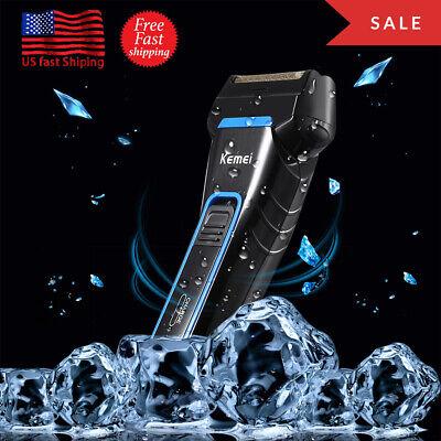 KEMEI Men Electric Dual Foil Shaver Razor Cordless Rechargeable Beard Trimmer US