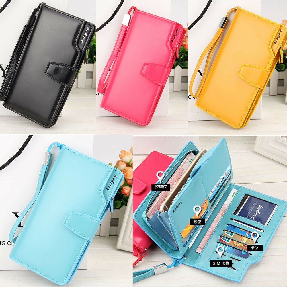 Women Ladies Leather Wallet Long Zip Purse Card Phone Holder Case Clutch Handbag Clothing, Shoes & Accessories