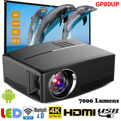 Multimedia 4K 3D WiFi Android Bluetooth LED Home Cinema Projector 7000 Lumens