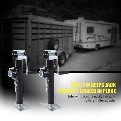 "2 pcs 2,000 lbs Square Trailer Jack Pipe Mount Side Wind Drop Leg - 10"" Lift USA"