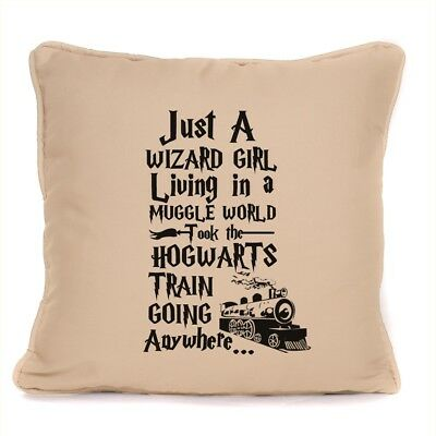 Harry Potter Fan Gift Just a Wizard Girl Living in a Muggle World Cushion