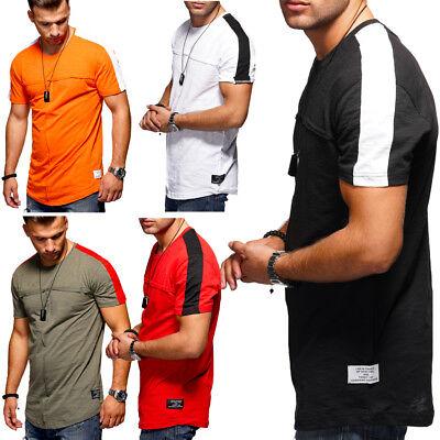 Herren T-Shirt Longline Stripe Oversize Longshirt Longsleeve Schwarz/Weiß NEU