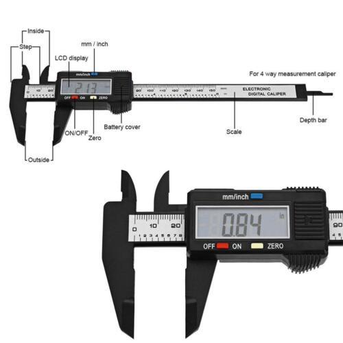 150mm LCD Digital Electronics Vernier Caliper Caliber Carbon Fiber Micrometer