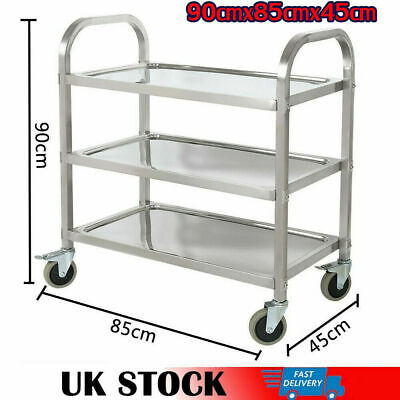 Stainless Catering Trolley Hotel Kitchen Food Serving 3 Tier Cart 90*85*45cm