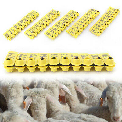 100 Set Sheep Goat Pig Cattle Cow Livestock Ear Number Tag 001-100 Farm Yellow