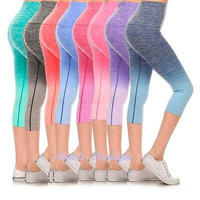 Women Ombre Capri Cropped Leggings Yoga Pants for Gym Fitness Workout Wear S M L