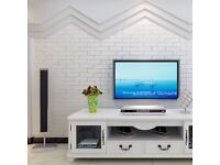 6 ROLLS + 1 FREE HIGH STENGTH WHITE BRICK WALLPAPER WITH WHITE/SILVER TINT GROUT LINE