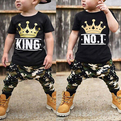 Fashion Top Pants KING Crown Clothes for Toddler Baby Boys Street Outfits Sets