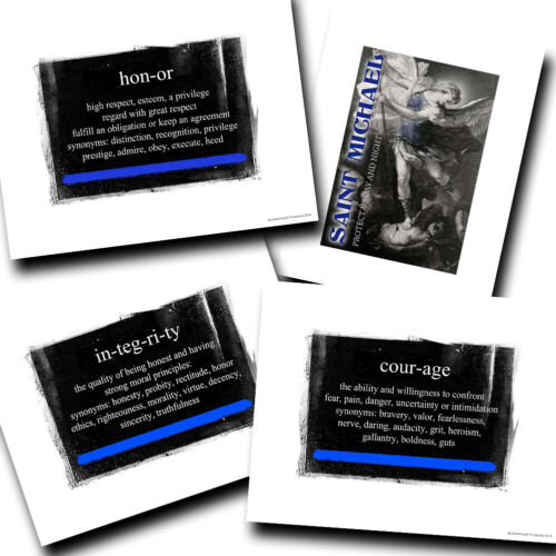 Thin Blue Line Definition Integrity Honor Courage Designs Four Photo Prints