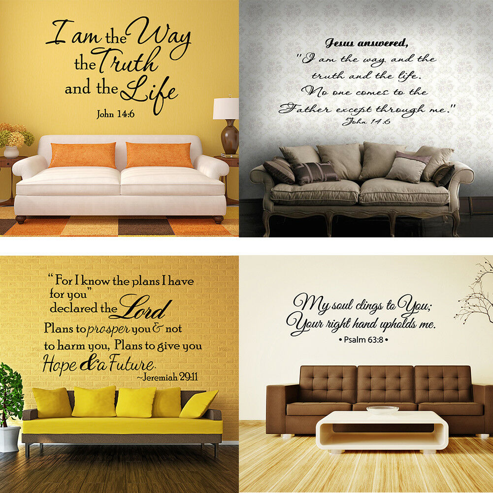Home Decoration - Bible Verse Wall Decals Christian Quote Vinyl Wall Art Stickers Scripture Decor