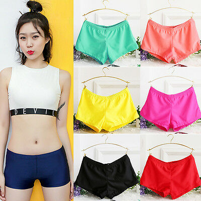 Ladies Plain Solid Color Swim Shorts Bikini Swimwear Boy Style Short Tankini ()