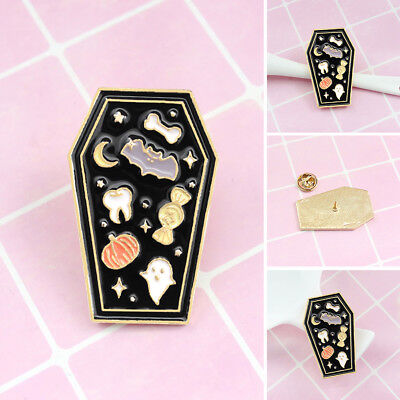 Cute Coffin Enamel Brooch Pin Denim Jeans Badge Halloween Party Decor New Trendy