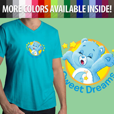 Care Bears Bedtime Bear Sleepy Sweet Dreams Cartoon Cute Mens Tee V-Neck T-Shirt (Sleepy Bear Tee)