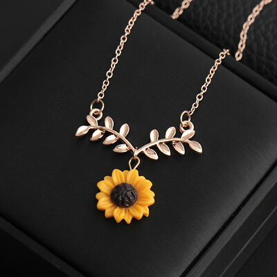 Jewellery - Women Sunflower Leaf Branch Pendant Clavicle Necklace Jewelry Birthday Gift US