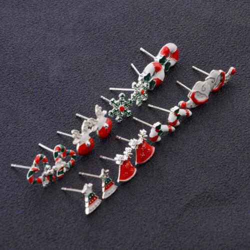 Jewellery - 8Pairs Christmas Santa Snowflake Earrings Gift Tree Studs Jewellery Girls New UK
