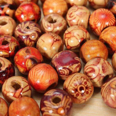 Mixed color Wooden Beads for Macrame Jewelry Charms Crafts Making 100PCS