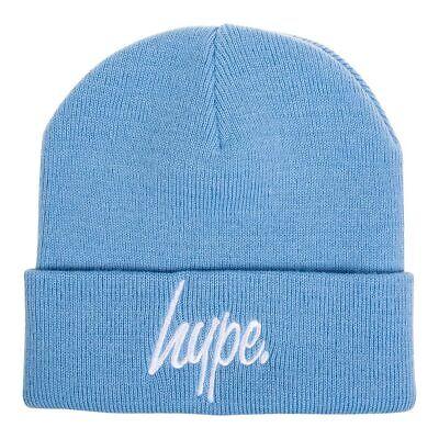 Hype Light Sky Blue Beanie Hat, Warm Winter Headwear, Hype Script Logo ()