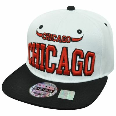 Chicago Illinois Chi Town Windy City USA Bull Horns White Black Snapback Hat Cap (Usa Windy City)