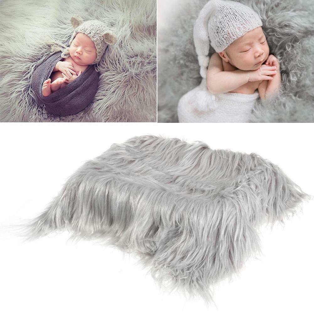 Infant Baby Photo Props Newborn Photography Soft Faux Fur Quilt Blanket Mat