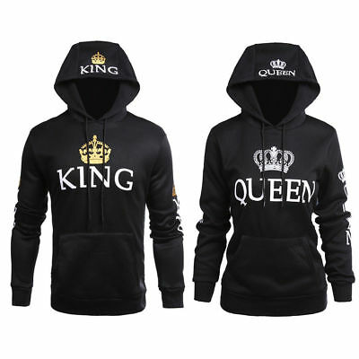 Women Men Couple Clothes Hoodie Jumper Coat King and Queen Print Hooded Sweater