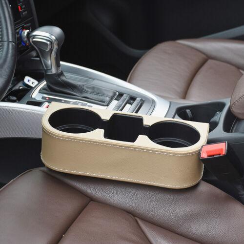 Beige Leather Car Auto Accessories Seat Seam Storage Box Phone Holder Organizer