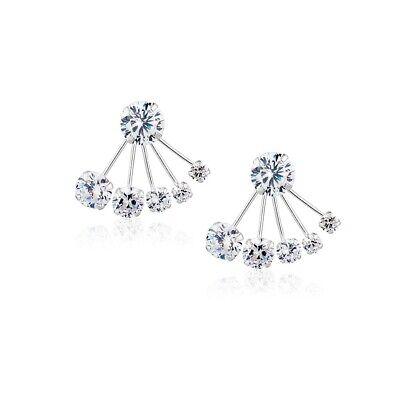- 925 Sterling Silver White Cubic Zirconia Stud Earrings Prong Halo Arc Ear Jacket