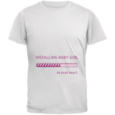 Installing Baby Girl Funny White Adult T-Shirt (Funny Adult Girls)