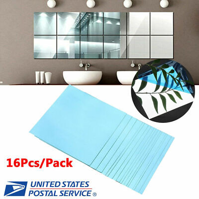 16Pcs Squre Mirror Tile Wall Stickers Mosaic Room Makeup Decor 3d Adhesive DIY](Mirrored Tile)