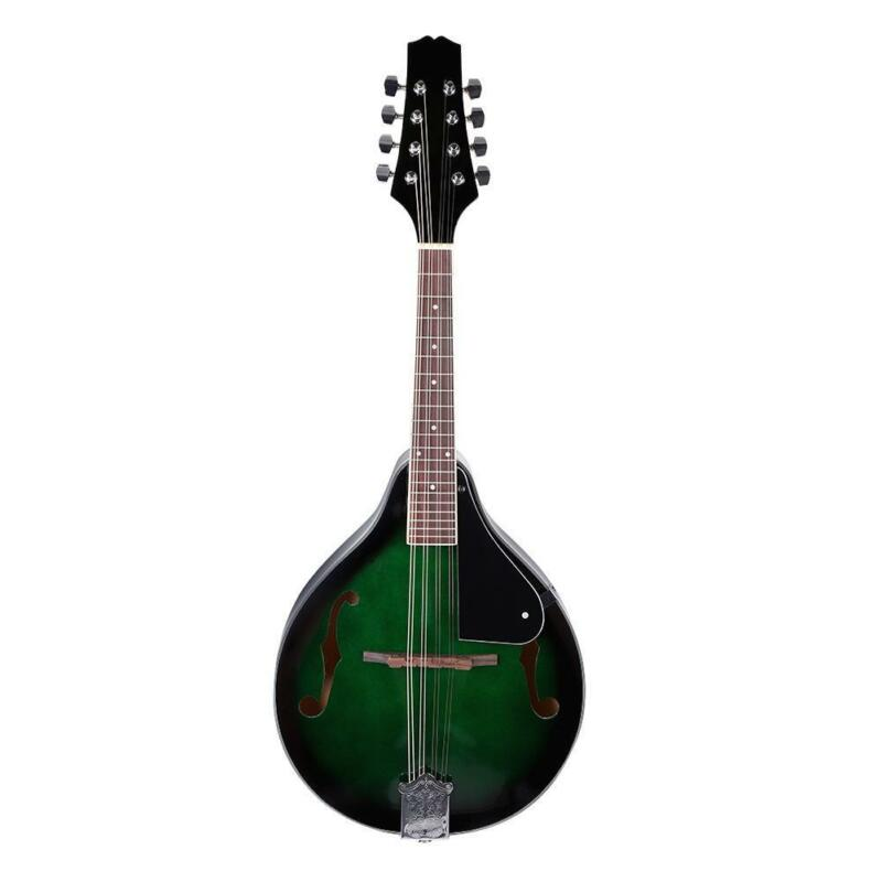 1x Classical 22 Fret Wooden Mandolin with Carrying Bag 69 * 28 * 8cm Green