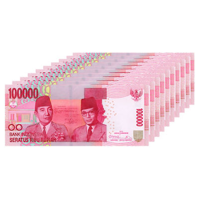 INDONESIAN RUPIAH 100,000 X 10 = 1 Million 1,000,000 IDR UNCIRCULATED INDONESIA