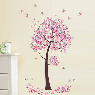 Home Decoration - Pink Flower Butterfly Tree Wall Stickers Art Decal Girls Bedroom Home Decor DIY