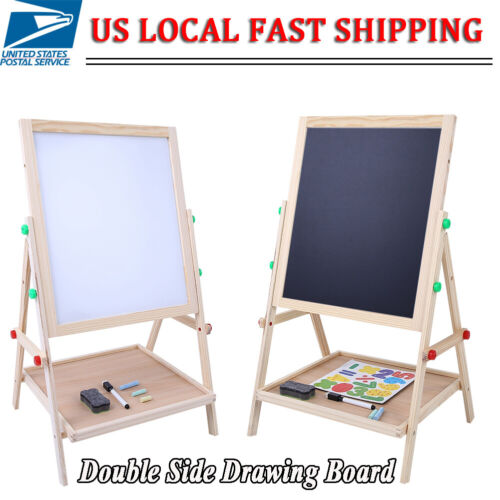 2 In 1 Double Side Baby Kids Child Standing Art Easel Wooden