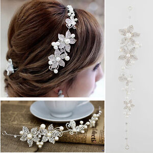 Crystal-Rhinestone-Faux-Pearl-Flower-Party-Bridal-Headband-Hair-Band-Tiara-Clear