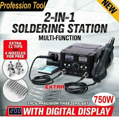 2 In 1 Hot Air Gun Kit Rework Station Esd Smd Iron Soldering Solder Holder 110v