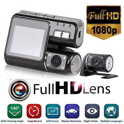 HD 1080P Dual Lens Car Vehicle DVR Camera Dashboard Video Recorder G Sensor Cam