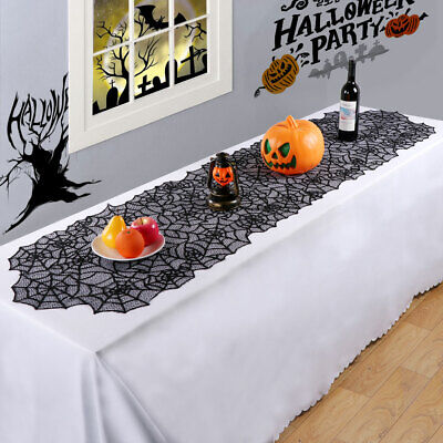 Halloween Black Lace Spider Web Table Runner Tablecloth Party Dinner Home Decor