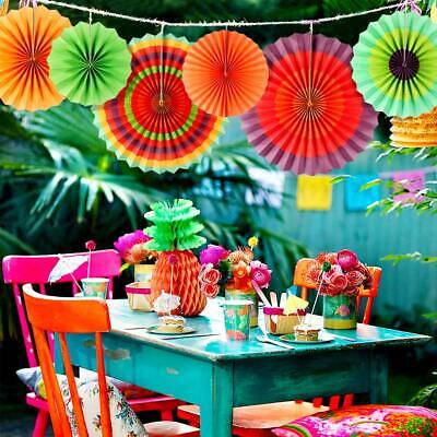6x Chinese Fans Flowers Paper Fan Mexican Fiesta Party Backdrop Hanging - Chinese Paper Fan