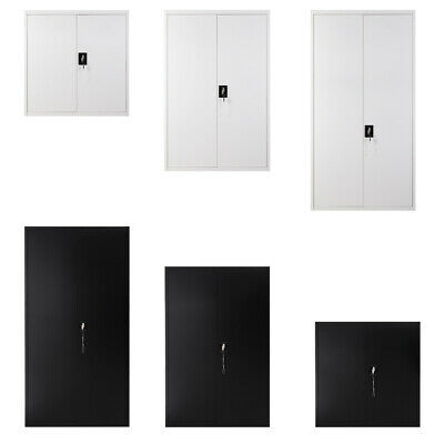 Office 2 Doors Filing Cabinet Metal Lockable Document Storage Cupboard Furniture