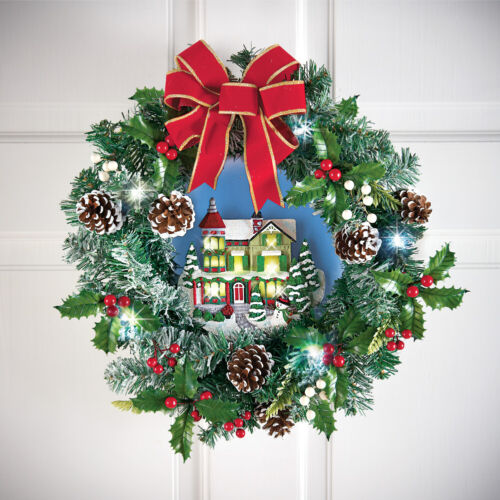 Lighted Victorian House Pine Cone Christmas Wreath