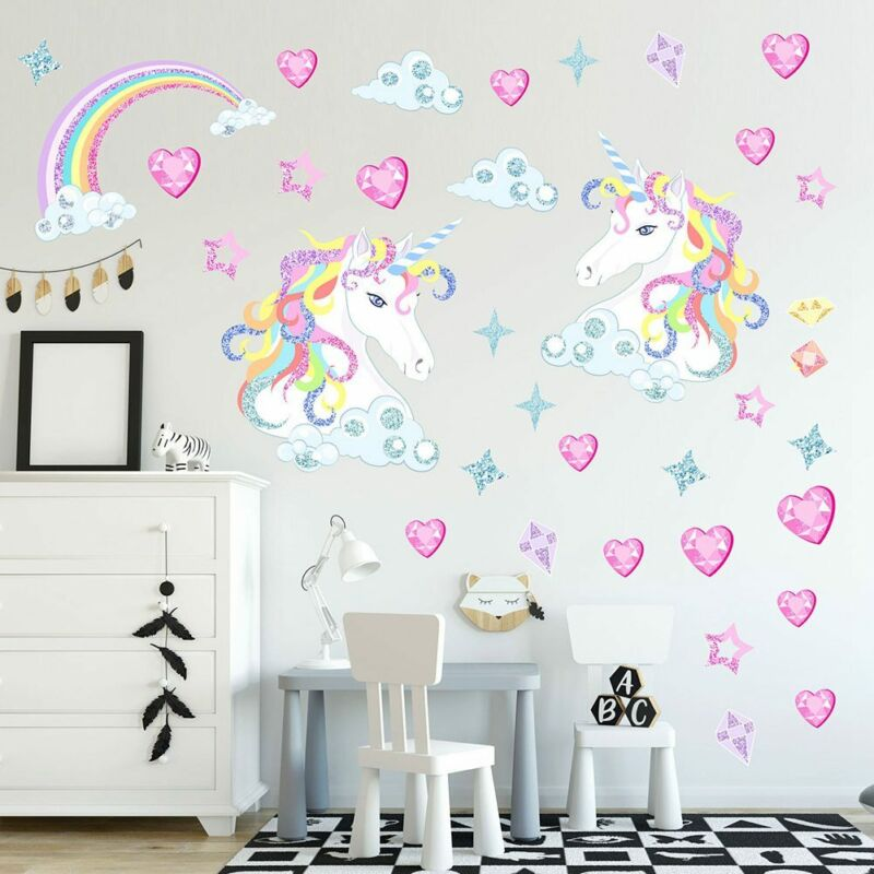 Details about Magical Unicorn Horse Rainbow Stars Hearts Childrens Bedroom  Wall Stickers Hoom