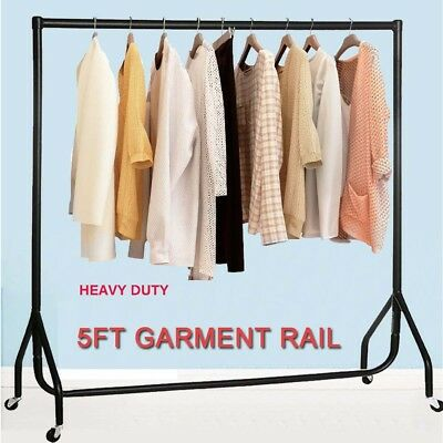 5FT HEAVY DUTY GARMENT RAIL CLOTHES RAIL CLOTH RACK HOME SHOP DISPLAY ALL METAL